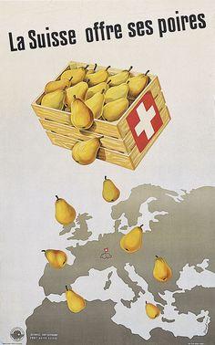 La Suisse offre ses poires - 1946 - (Krapf Karl O.) -