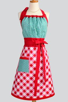 Red Gingham and Turquoise