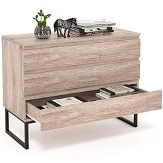 HOMFA 3 Drawer Dresser Cabinet, Wood Storage Organizer Collection Chest with Steel Legs Modern Style Side Cabinet File Cabinet Decor Furniture for Living Room Home Office Wood Bedroom, Room Ideas Bedroom, Small Room Bedroom, Small Rooms, Small Spaces, Storage Drawers, Chest Of Drawers, Wood Storage, Furniture Decor