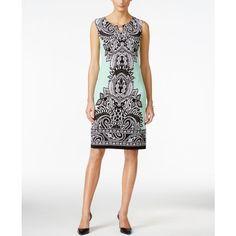Jm Collection Petite Sleeveless Paisley-Print Dress, ($35) ❤ liked on Polyvore featuring dresses, green pasiley fan, paisley sheath dress, green white dress, green paisley dress, petite white dresses and no sleeve dress