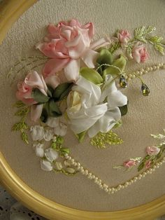 pearl, bead, ribbonwork, white roses, silk ribbon embroidery