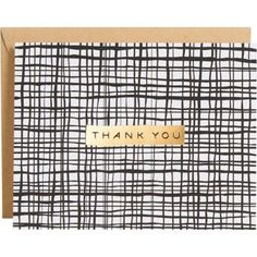 This is a modern take on greeting cards. Sketched black lines criss-cross in a grid pattern, adorned with gold foil Thank You. Blank inside. Set of 10 note cards.<br><br>10 - 4.25 x 5.5 A2 folded