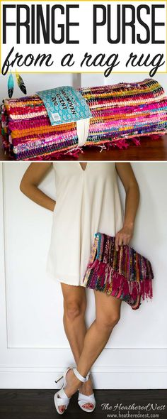 DIY fringe purse tutorial! Make this DIY purse from a rag rug! A super summery, popular look right now, and not hard to make!