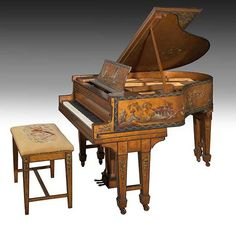 Original Madame Butterfly Christman & Sons Oriental Baby Grand Piano