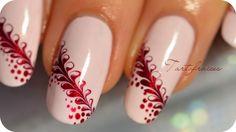Tartofraises nails - gives me an idea for baseball nails Baseball Nail Designs, Baseball Nails, Great Nails, Cool Nail Art, Simple Nails, Nail Art Designs, Water Marble Nail Art, Nails Only, Hot Nails