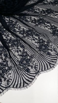 Black Lace fabric French Lace, Chantilly Lace, Bridal lace Wedding Lace Evening dress lace Scalloped Floral lace Lingerie Lace by the yard Bridal Lace, Wedding Lace, Wedding Dresses, Black Lace Fabric, Lace Evening Dresses, Dress Lace, French Lace, French Style, Lace Veils