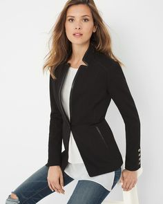 "Faux leather-trim and a razor-sharp lines meet to create this modern jacket with a single button closure. It is the quintessential topper for your Basics tee and destructed denim jeans. One-button jacket Unlined  Rayon/nylon/spandex. Machine wash, cold.  Approx. 26.5"" from shoulder  Imported"