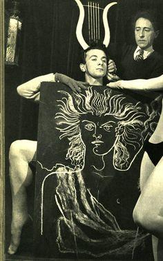 """Serge Lido. Portrait of Roland Petit, Jean Cocteau and Jeannine Charrat for the ballet """"Orphée"""" 1950"""