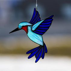 Hummingbird, stained glass hummingbird suncatcher, stain glass humming bird ornament on Etsy