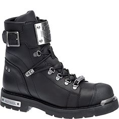 9e0733c4afc8 Harley-Davidson Men s Sewell Black Leather Motorcycle Boots D96125