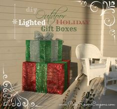 DIY Outdoor Lighted Gift Boxes       We have a very large porch, over 200 sq ft, and finding outdoor Christmas decorations to fill it up is nearly impossible on a budget. They are either way overpriced or so small that it would take many, many items to fill up the space. I've al...