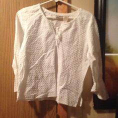 White top 3/4 sleeve ruffled textured shirt St. John's Bay Tops