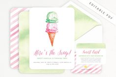Ice Cream Invitation - Printable for Ice Cream Social Party - Summer Party -Birthday, Baby Shower or Bridal Shower Party - Editable Download