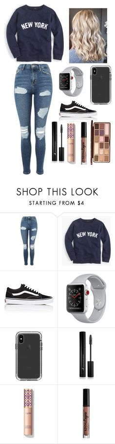 """Chill school outfit"" by lagr on Polyvore featuring Topshop, J.Crew, Vans, Forever 21, Charlotte Russe and Too Faced Cosmetics"
