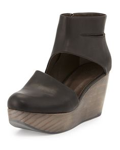 Hop+Leather+Wedge+Clog,+Black+by+Coclico+at+Neiman+Marcus.