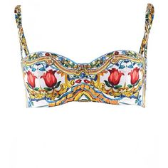 Dolce & Gabbana Multicolour Majolica Print Balcony Bikini Top ($280) ❤ liked on Polyvore featuring swimwear, bikinis, bikini tops, dolce gabbana bikini, print swimwear, swim suit tops, dolce gabbana swimwear and multicolor bikini