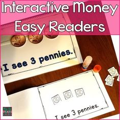 These easy readers are perfect for teaching students to recognize and count coins. There is a full color and student book for penny, nickel, dime and quarter. There is also a book devoted to adding up mixed coins. Included:*5 full color books: 1 book for pennies, nickels, dimes, quarters and mixed coins. *5 student (black and white) versions of the full color books. *A sheet of coins to glue on to the student booklets are included for each book.