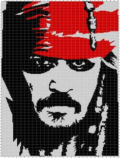 Free Cross Stitch Charts, Cross Stitch Books, Johnny Depp, Pixel Art, Cross Stitch Silhouette, Graph Paper Art, Modern Cross Stitch Patterns, Plastic Canvas Patterns, Bead Art