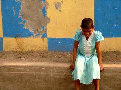 Shy little girl in Kolkata, India