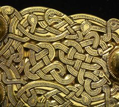 Great Gold Buckle / Sutton Hoo Ship Burial; early 7th c CE; Early Anglo-Saxon; Style II; Found: Sutton Hoo, Suffolk, England; Medium: niello, gold, punched, inlaid, cast