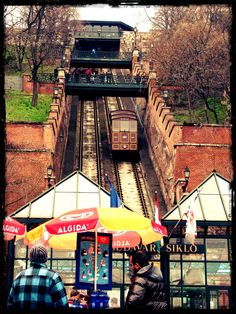 Going up the funicular/siklo to the top of Castle Hill - Budapest, Hungary