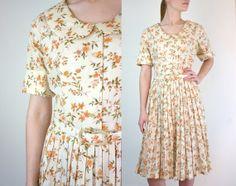 Vintage 1950s Dress / 50s Dress / Harvest Print. $112.00, via Etsy.