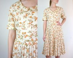 Vintage 1950s Dress / 50s Dress / Harvest Print. $112.00, via Etsy.