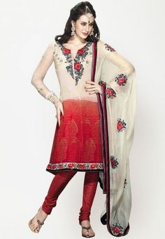 Embroidered red cream dress material