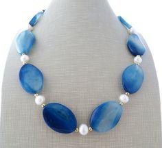 Blue agate necklace chunky stone necklace big bold by Sofiasbijoux