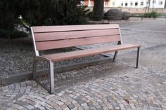 Simple, Solid and Cheap Outdoor Wooden Patio Bench Ideas Garden and Outdoor Wooden Garden Benches, Wooden Patios, Garden Chairs, Dinning Room Bench, Patio Bench, Iron Furniture, Street Furniture, Furniture Design, Modern Rustic Furniture
