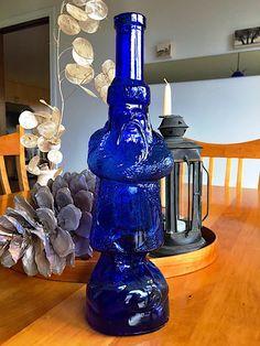 Vintage Cobalt Glass Santa Bottle 1940 Blue Glass Santa