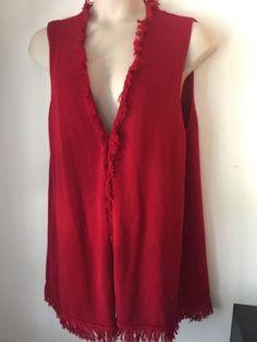 CHICO'S Womans NWT Red Cotton Fringed Knit Sweater Vest Sz 3 XL #Plus #Sale $36.99 http://www.ebay.com/itm/CHICOS-Womans-NWT-Red-Cotton-Fringed-Long-Knit-Sweater-Vest-Sz-3-XL-Plus-Sale-/221947511647 #vests