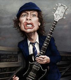 Angus Young caricature by Andre Koekemoer - Digital Artist Angus Young, Funny Caricatures, Celebrity Caricatures, Heavy Metal, Cartoon Faces, Funny Faces, Hard Rock, Pochette Cd, Young Art