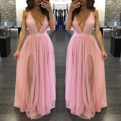 Long Custom Prom DressPink Tulle Prom Dress Sexy V Neck Prom Dress Slit Prom Dress Simple Prom Dress Evening Dress Woman Dress V Neck Prom Dresses, Tulle Prom Dress, Event Dresses, Cheap Prom Dresses, Sexy Dresses, Prom Gowns, Wedding Dresses, Baby Pink Prom Dresses, Occasion Dresses