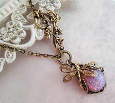 Feuer Opal Halskette Jugendstil asymmetrische von Federikas auf Etsy