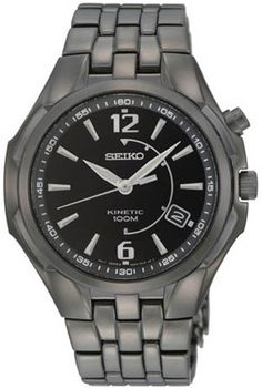 Seiko Kinetic Black Dial PVD Stainless steel Mens Watch SKA517 BY Seiko