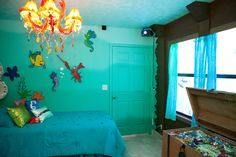 Little mermaid room ombre wall