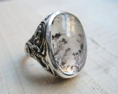 Serpentine Leaf Ring in Dendritic Quartz and by LuraJewelry, $445.00