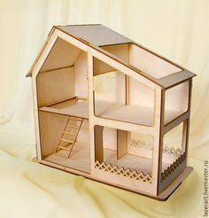 Купить Кукольный дом №2 - бежевый, домик, дом, кукольный дом, кукольные аксессуары
