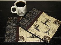 Quilted Mug Rug London Paris New York and Roma Theme Fabric in Pretty Browns and Cream's Cottage Chic Set of Two Mug Mats. $14.50