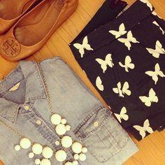 Keeper chambray + butterfly shorts // Instagram @ashleychris_