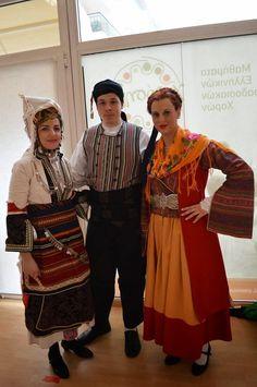 Tsakonia costume on right Folk Clothing, Greek Clothing, Greek Traditional Dress, Greek Costumes, Greek Apparel, Folk Costume, Albania, Anthropology, Persona
