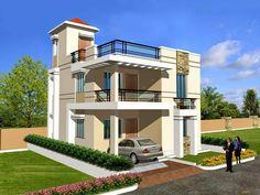 House Floor Design, 2 Storey House Design, House Outside Design, Bungalow House Design, Modern House Design, Flat Roof House, Facade House, 20x40 House Plans, Indian House Plans