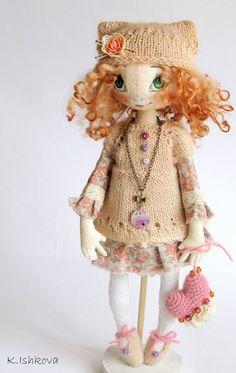 Textile cloth doll Jessie Redhead art