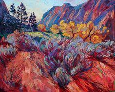 Zion National Park oil painting landscape by Erin Hanson