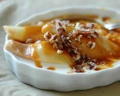 Arborio Rice Pudding with Roasted Pears and Bourbon Caramel and Candied Pecans