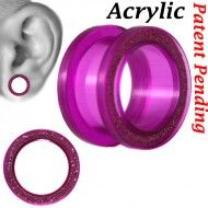 Wholesale Body Jewelry Tunnel Sand Paper Acrylic Transparent Purple Color PA14-TPP Product Code: PA14-TPP