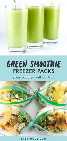 Your toddler will love these three green smoothie recipe combinations! Packed with fruits and vegetables, this freezer packs will please even your picky eaters! Toss 'em in the freezer and whip one up anytime your toddler (or you) is hungry! Toddler Smoothies, Smoothies For Kids, Fruit Smoothies, Breakfast Smoothies, Breakfast Fruit, Vegetable Smoothies, Healthy Smoothies, Breakfast Recipes, Freezer Smoothie Packs
