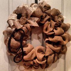 Burlap wreath with monogram initial