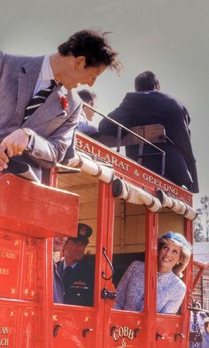 Diana, the Princess of Wales, and Prince Charles ride on a stagecoach through Sovereign Hill on April 15, 1983 in Ballarat, Australia during the Royal Tour of Australia.